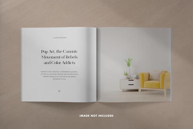 Square magazine mockup with shadow overlay