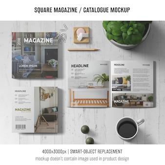 정사각형 잡지 또는 카탈로그 모형 개념