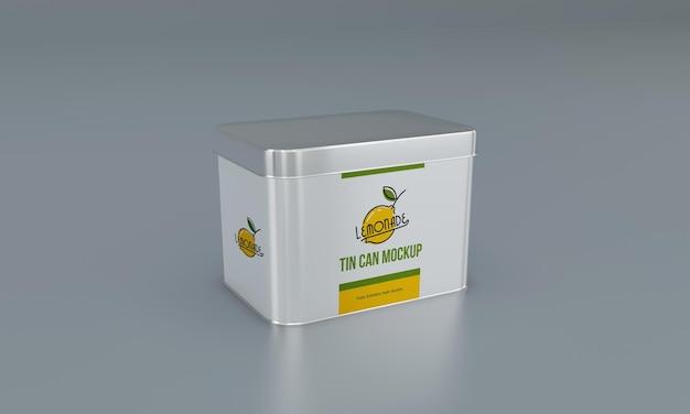 Мокап квадратной металлической упаковки для пищевых продуктов