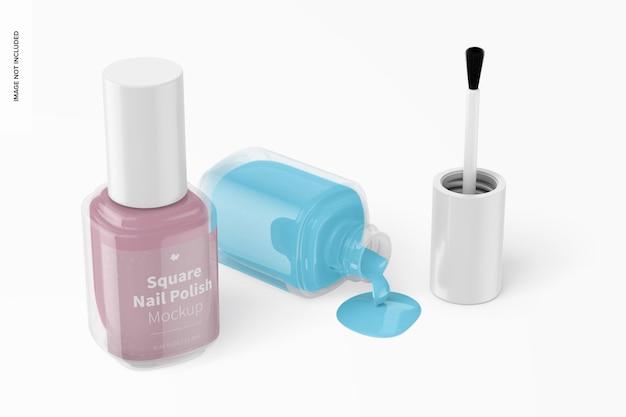 Square nail polishes mockup, opened and closed