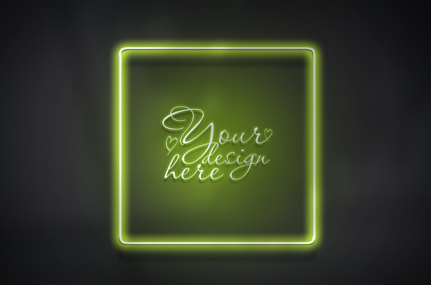 Square neon green frame template