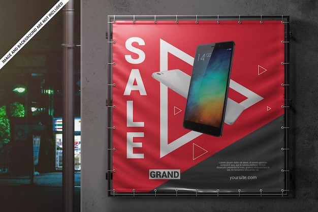 Square outdoor wall banner mockup