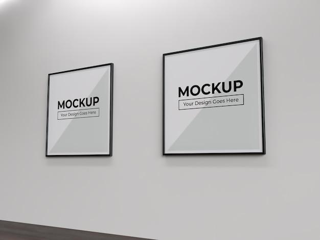 벽 실내 모형에 사각형 그림 사진 및 포스터 프레임