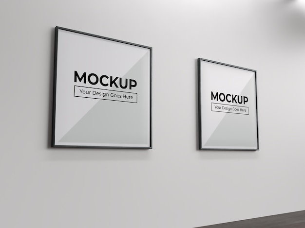 Square painting photo and poster frame on wall indoor mockup Premium Psd