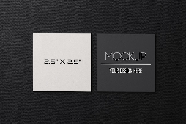 Square paper business cards mockup