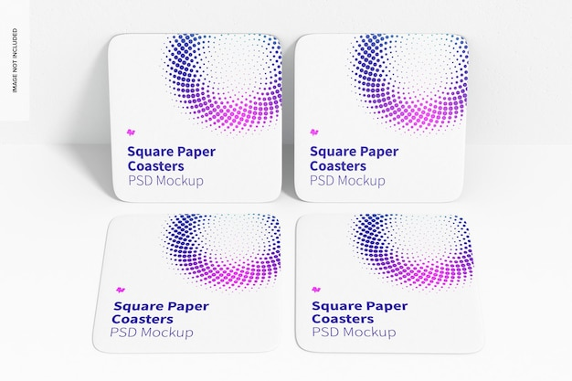 Square paper coasters mockup, leaned