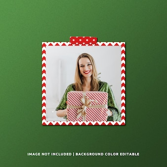 Square paper frame mockup for christmas
