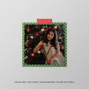クリスマスのための正方形の紙フレーム写真モックアップ