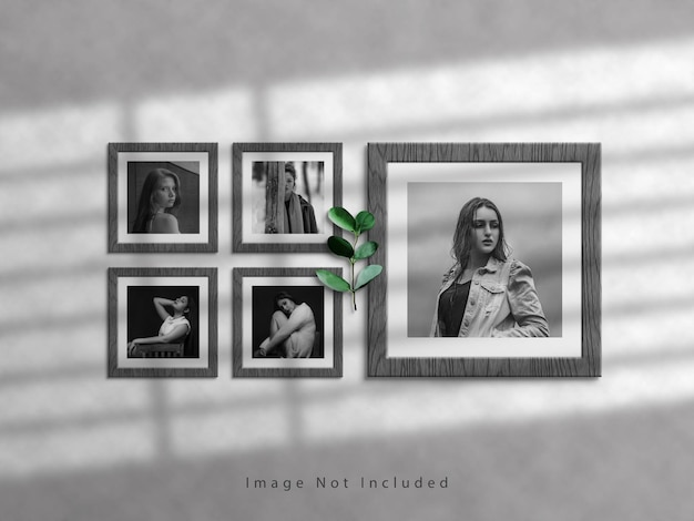 Square photo frame mockup on white wall and shadow overlay
