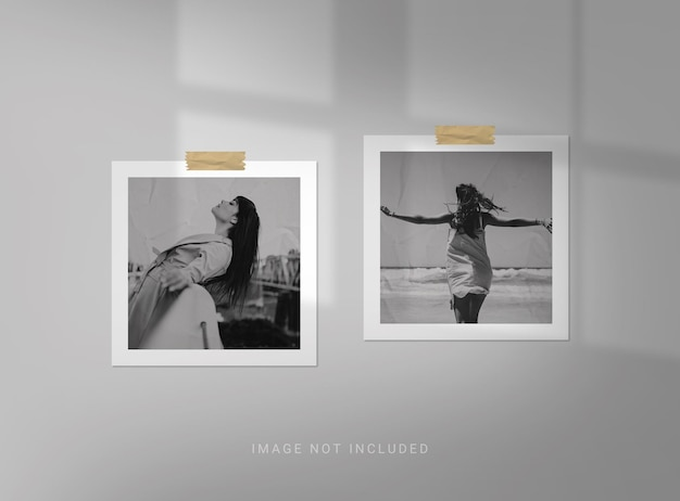 Square photo frame mockup with paper effect