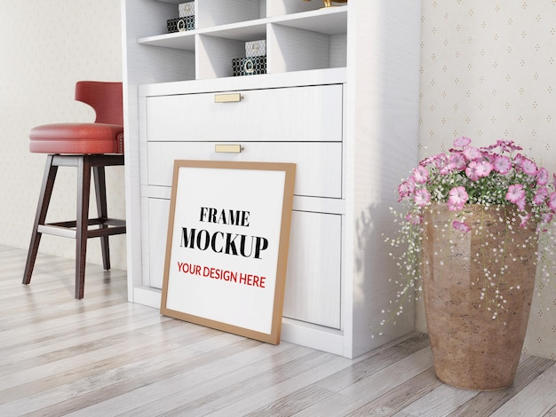 Square photo frame mockup on the wooden floor