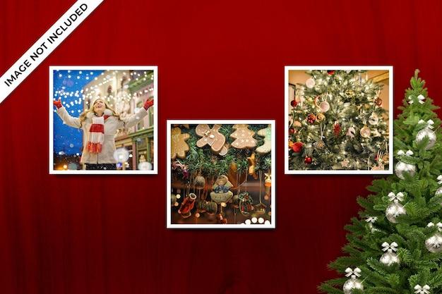 正方形のフォトフレームポラロイドテンプレートクリスマスと新年のモックアップpsd