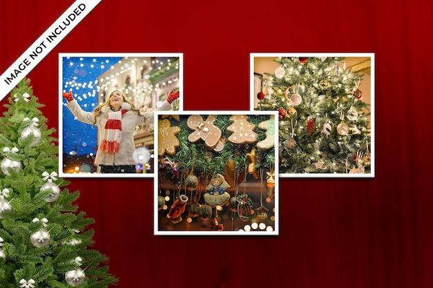 正方形のフォトフレームポラロイドテンプレートクリスマスと新年のモックアップ