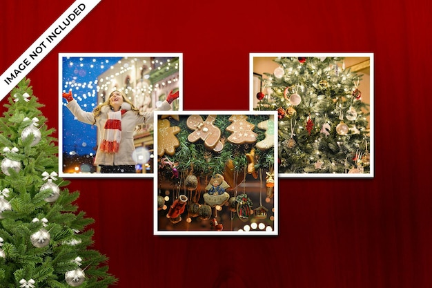 Square photo frame polaroid template christmas and new year mockup