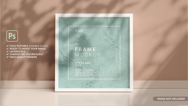 Square picture frame mockup on the floor leaning against the wall in 3d rendering