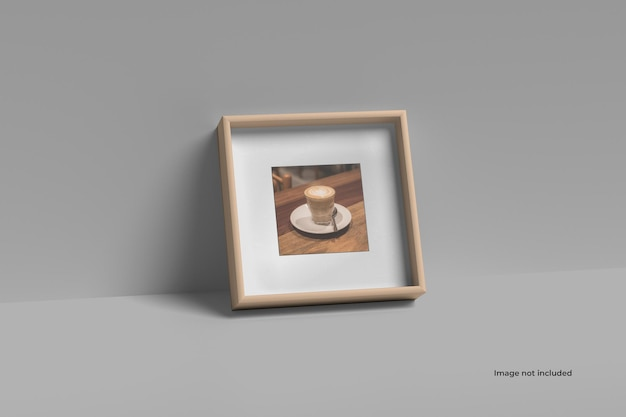 Square picture frame mockup on the floor