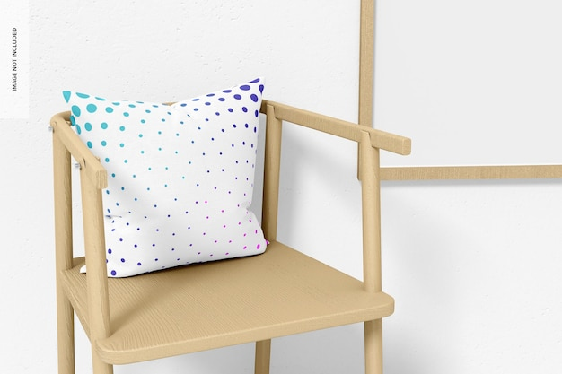 Square pillow and chair mockup