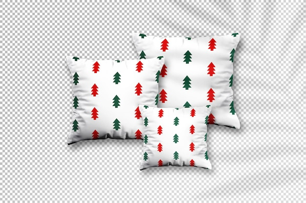 Square pillow mockup with christmas design with palm leaves shadow