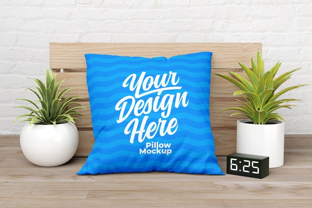 Square pillow mockup with indoor plant