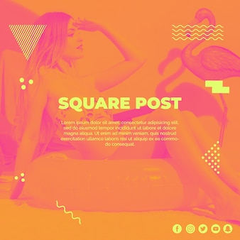 Square post template in memphis style with summer concept