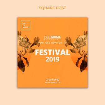 Square post template with spring festival concept