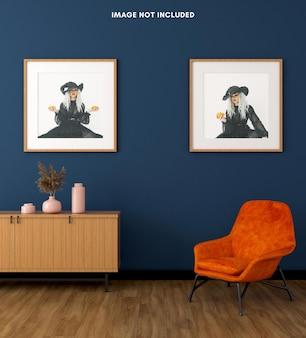 Квадратная рамка для плаката на синей стене гостиной для 3d-макета