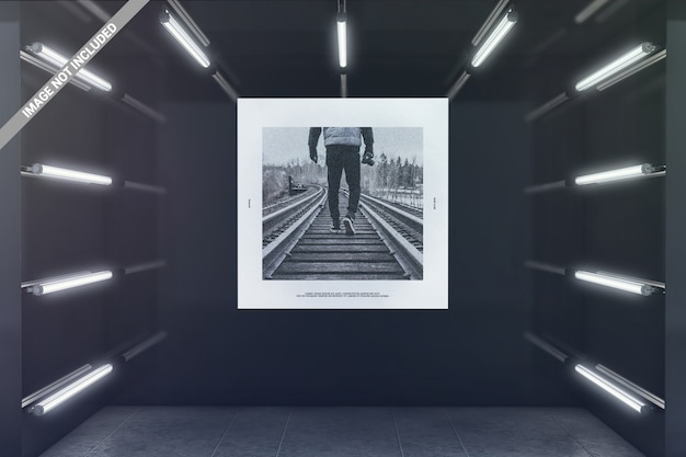 Square poster in glowing exhibition room mockup