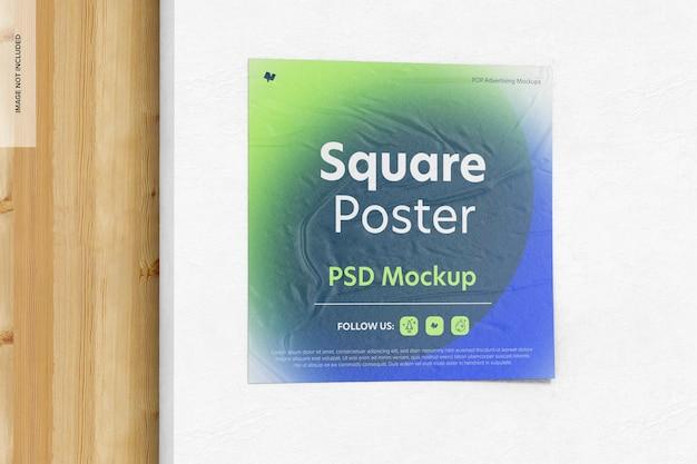 正方形のポスターのモックアップ、クローズアップ