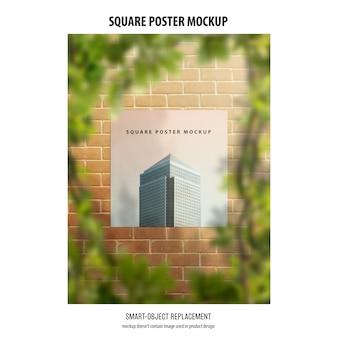 正方形のポスターのモックアップ