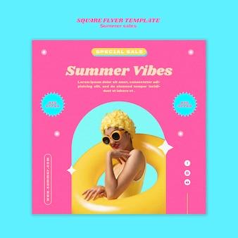 Квадратный шаблон плаката для летней распродажи