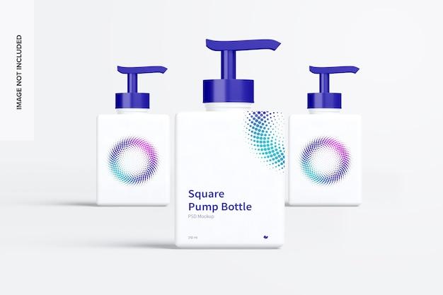 Квадратный насос бутылки макет вид спереди