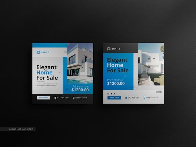 Square real estate 소셜 미디어 판매 배너 및 고급 모형이 포함된 미니멀리스트 instagram 게시물