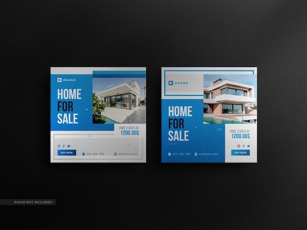 Square real estate social media sale banner and minimalist instagram post with a luxury mockup