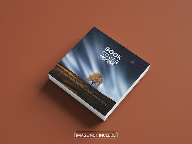 正方形の現実的なハードカバーの本のモックアップデザイン