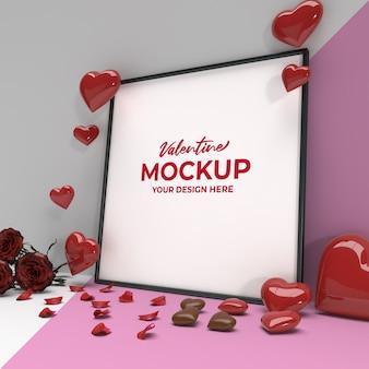 심장 장미 꽃잎과 초콜릿이있는 광장 로맨틱 발렌타인 프레임 모형
