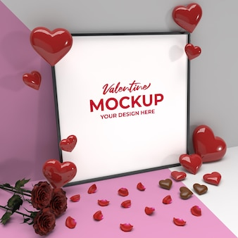 Square romantic valentine framing mockup with heart rose petals and chocolate Premium Psd