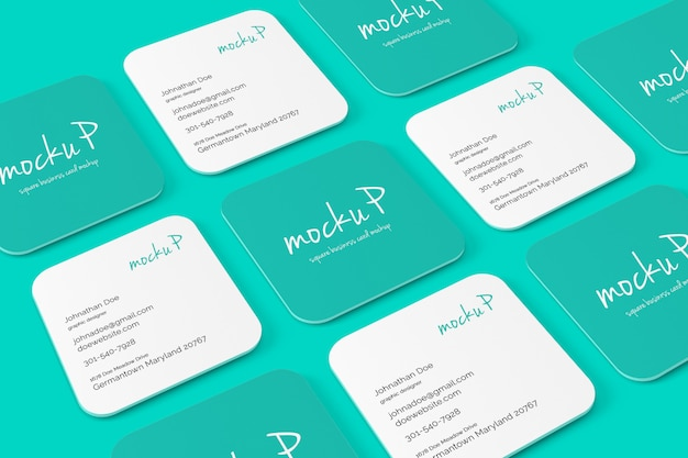 Square round corner business card mockup Premium Psd