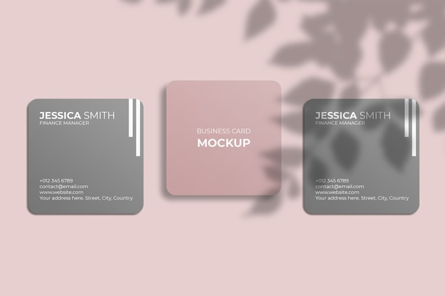 Square rounded corner business card mockup with leaf shadow