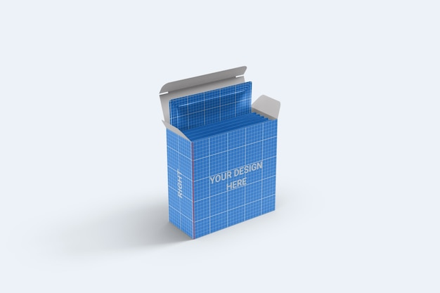 Square sachet with box packaging mockup