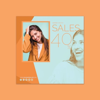 Square sales banner template