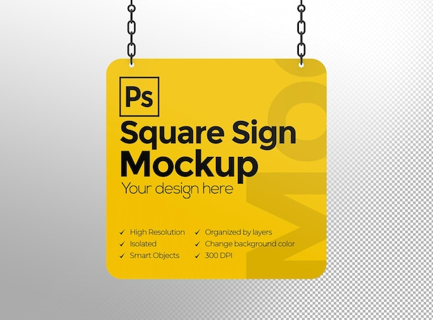 Square sign mockup with chains for advertising or branding