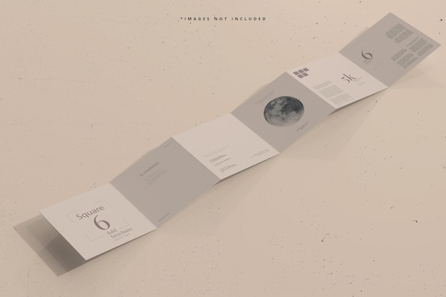 Square six fold brochure mockup