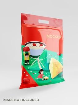 Квадратный макет упаковки закусок