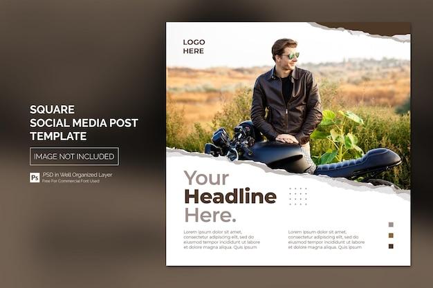 헤드 라인 디자인 컨셉으로 스퀘어 소셜 미디어 instagram 게시물 또는 웹 배너 템플릿