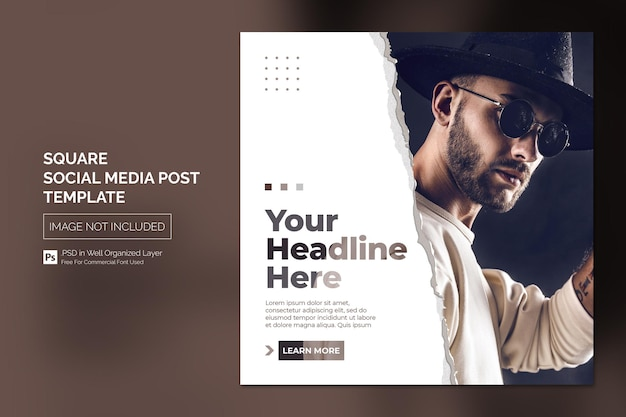 Square social media instagram post or web banner template design concept