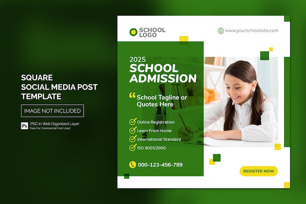 Square social media instagram post or web banner template with headline design concept
