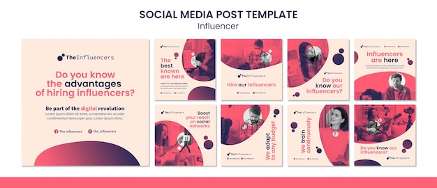 Square social media post template design for influencers