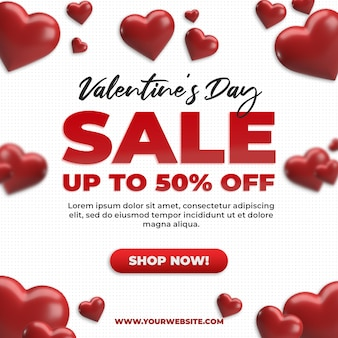 Square social media valentine sale discount promotion and advertisement