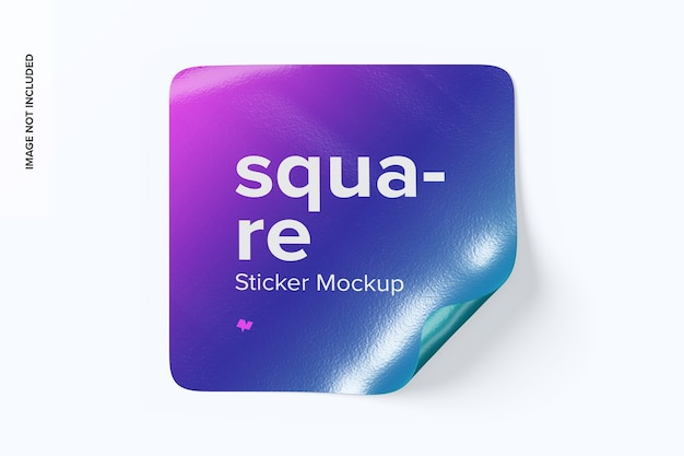 Square sticker front view