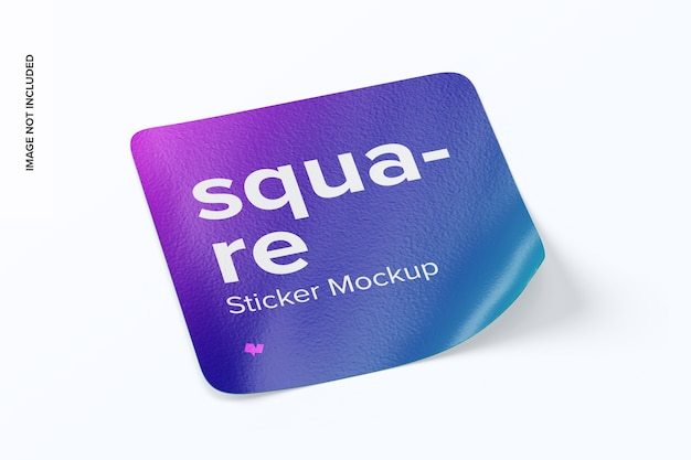 Square sticker left view mockup